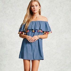 Forever 21 Off the Shoulder Tassel Dress Size S